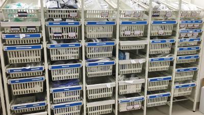 rack-coloured-handles-blue-hospital